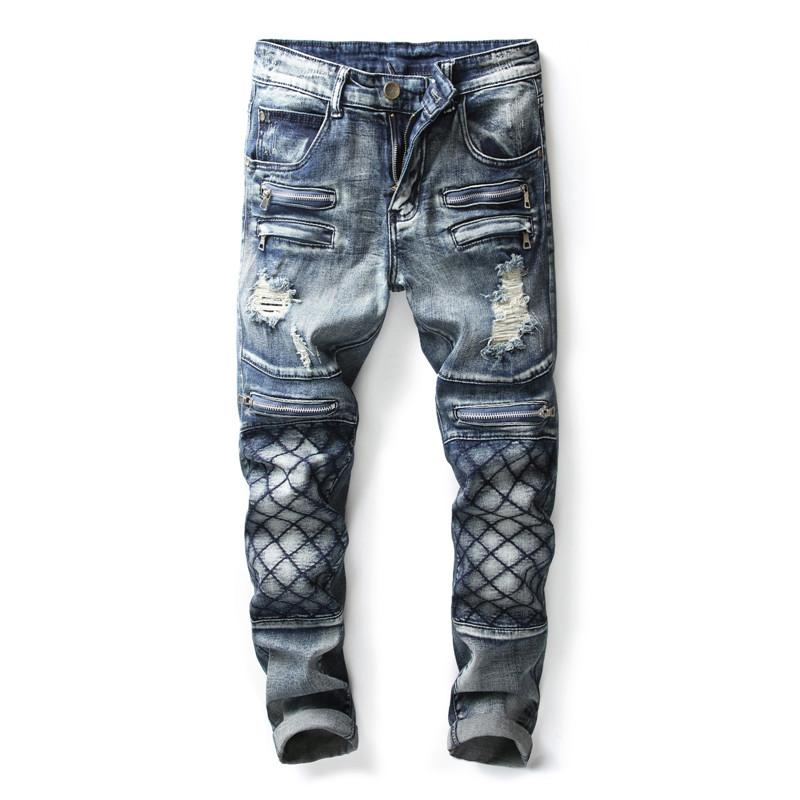 Compre Nueva Marca De Moda Jeans Estilo Europeo Y Americano Pantalones De Mezclilla Slim Fit Reparacion De Tubos Rectos Y Costura De Jeans Para Hombres 9007 A 57 94 Del Sadlyric Dhgate Com