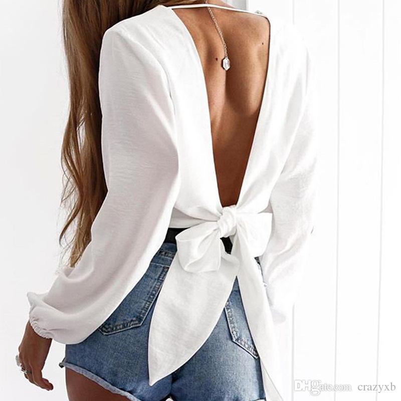 Backless Kısa Seksi T-shirt Kadınlar Derin V Boyun Tam Kollu Kırpma Üst Beyaz Tshirt Yay Kadın Tee Gömlek Tops Tees Beyaz Kırmızı