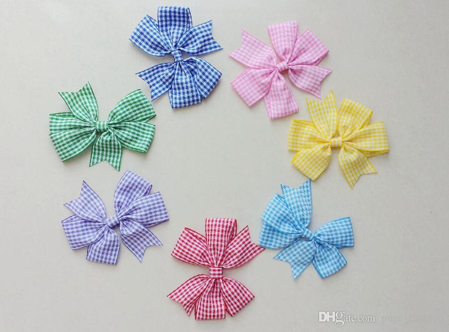 12pcs/lot Green Red Blue Yellow Gingham Check School Hair Bow Clips Back To School Dress