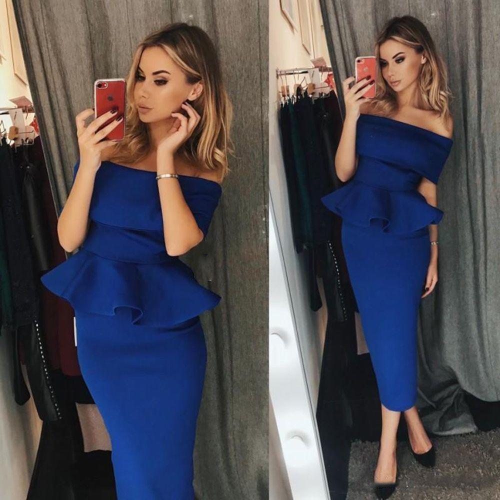 Elegante scollo a barca guaina abiti da ballo 2018 Royal Blue Ruffles tea-lunghezza abito da sera da sera abito formale corto abiti da ballo custom made