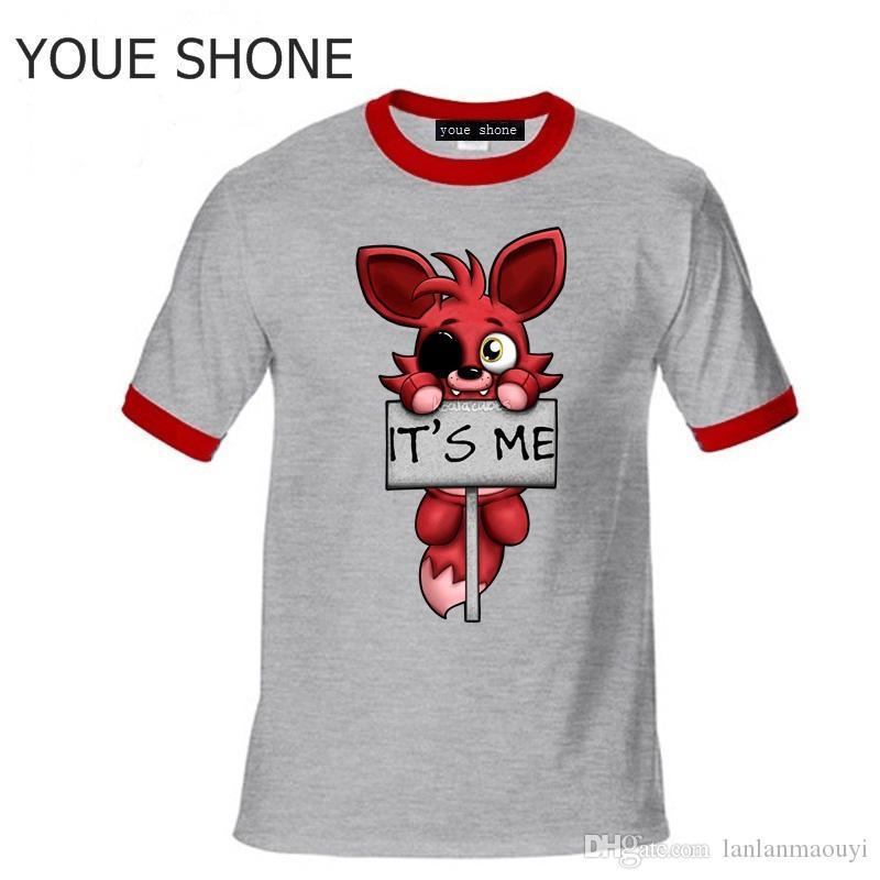 Moda é me Kawaii FNAF Peludo Foxy Homens T Shirt Hip Hop T-Shirt de Algodão O-pescoço Crianças crianças Marca de manga curta tee polo T-shirt