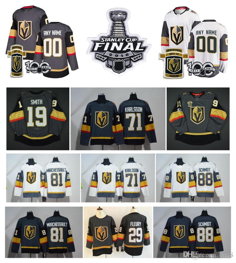 watch bd293 d275e 2019 2018 Stanley Cup Finals Vegas Golden Knights William Karlsson  Marchessault Marc Andre Fleury James Neal Hockey Jersey Inaugural 100th  Patch From ...