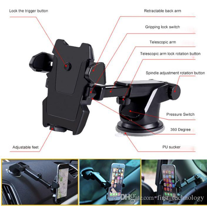 Universal Flexible Long Car-styling Phone Car Holder Stand Support Telephone Voiture for iPhone Samsung Xiaomi Phone Holder