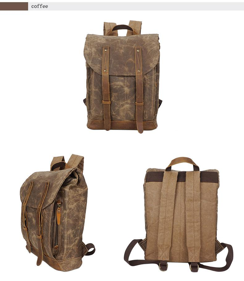 Retro Oil Wax Canvas Bag Waterproof Backpack Outside Sports Bag