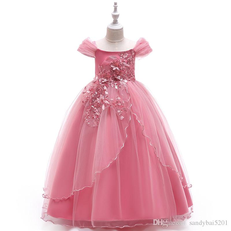 Kids Girls Flower Dresses Baby Girl Bow Dress 4-14 Years Infant Princess Pageant Formal Wedding Dress for Party 2018 Children Clothing S104