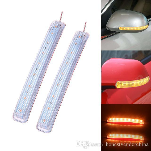 Indicador Espelho Ligue 2PCS LED Car Light Signal Auto Retrovisor lâmpada macio Flashing FPC Universal Amarelo 9 SMD Âmbar Fonte de Luz