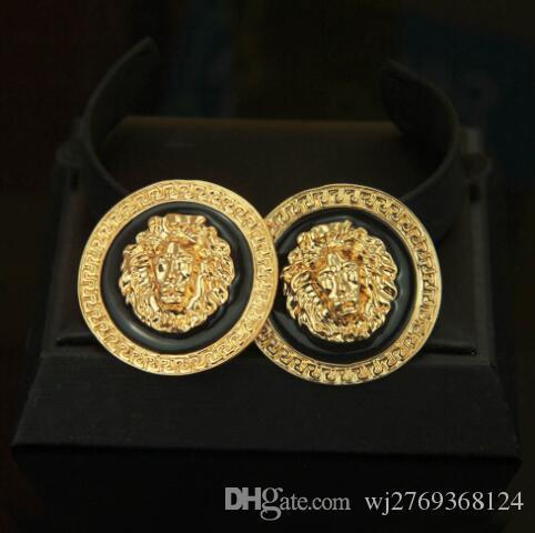 Cabeça de Leão Barroco do vintage Brincos de Ouro 18 K Rodada Ear Studs Eardrop Mulheres Presente Da Festa de Jóias Acessórios