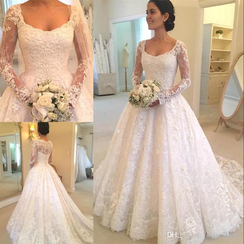 Discount White Lace Vintage Wedding Formal Dress Ball Gowns Pleated Within  Train Custom Made Appliques Winter Bridal Maxi Gowns Dress Buttons Back