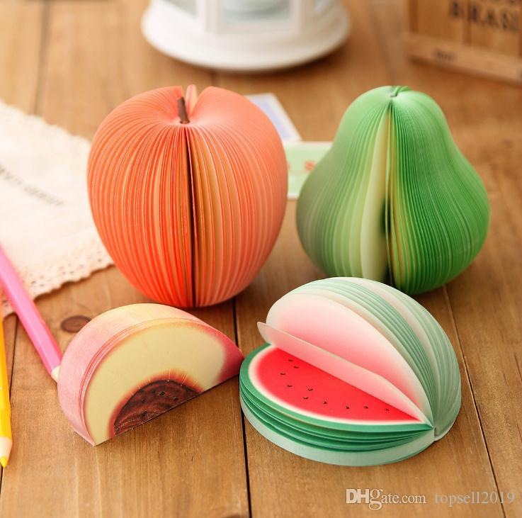 Cheapest!!! DIY Cute Apple Green Pear Notes Paper Fruit Vegetables Memo Pads Sticky notes Paper pop up notes Office Papelaria SuppliesSN1153