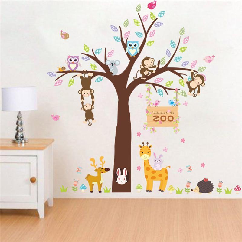Acheter Foret Zoo Animaux Lapin Girafe Singe Arbre Stickers Muraux Pour Enfants Chambres Chambre Enfants Chambre Decor Sticker Mural Affiche De 7 57