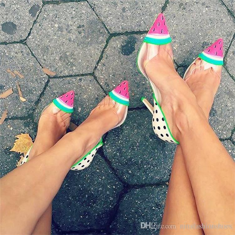 Sommer Heiße Wassermelone Print Frauen Spitze Zehenpumpen Mode Klar PVC Damen Slip On High Heels Weibliche Elegante Hochzeit Schuhe