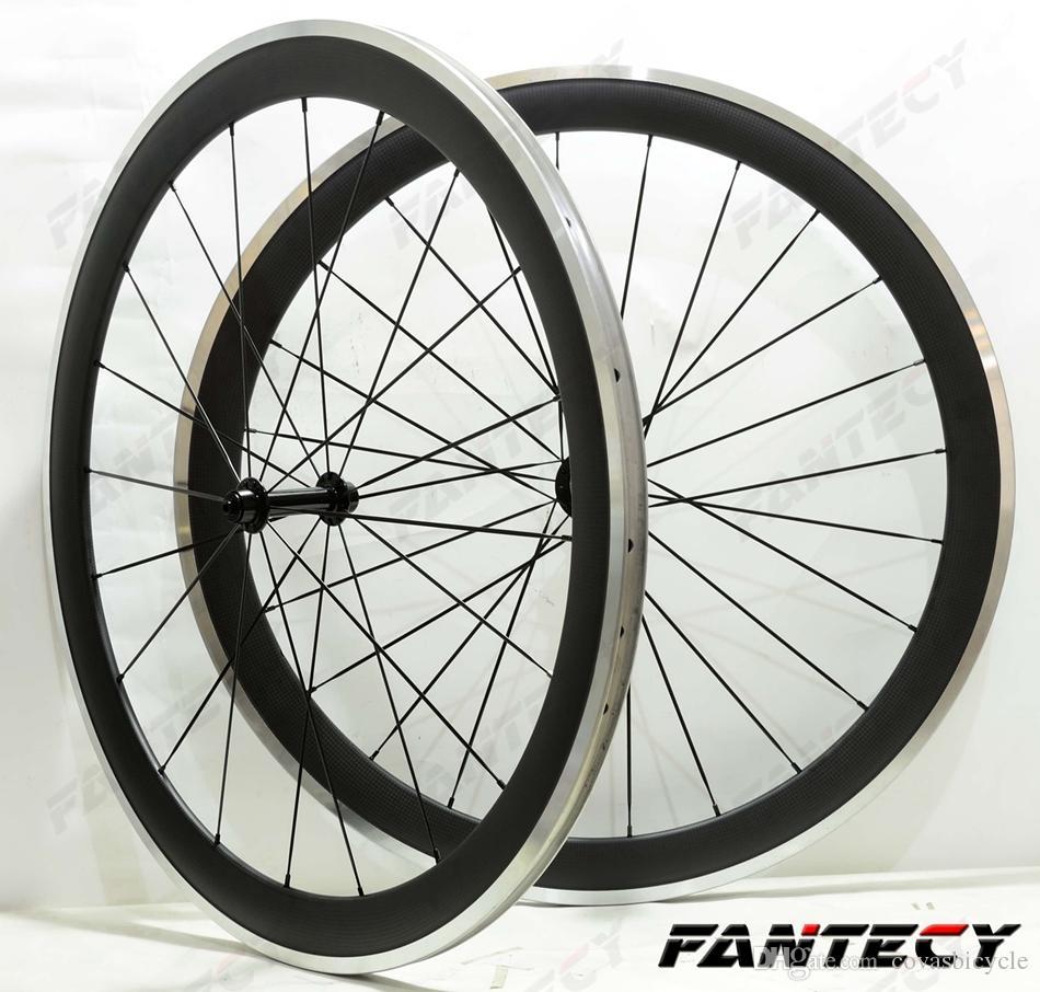 700C سبيكة سطح الفرامل عجلات الكربون 50 ملليمتر عمق الطريق الدراجة العجلات 23MM العرض الفاصلة سبيكة حافة 3K ماتي النهاية U- شايب حافة