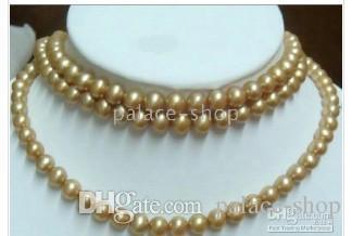Wspaniały morze rzadki złoty naszyjnik z pereł 48 cali 7-8 mm
