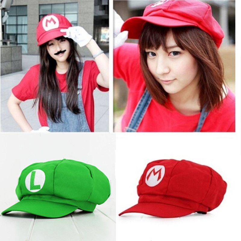 Halloween Adult Hat Cosplay Super Mario Bros Anime Cosplay Red Cap Tag Super cotton hat Super mario hats Luigi hat 5 colors