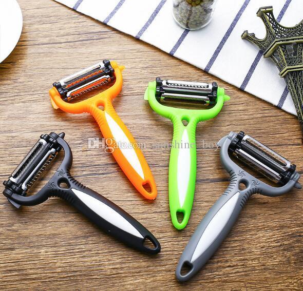 высокое качество Три в одном многофункциональным пилинге ножа ножа кожи для дыни и фрукты поворотного устройства шелушения Терки Кухня гаджет