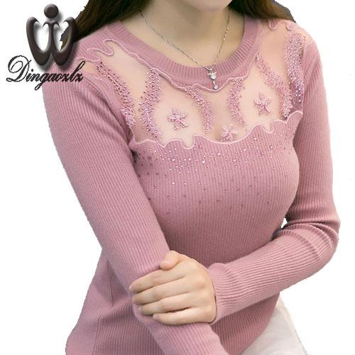 2018 осень дамы трикотажные рубашки с длинными рукавами женщин свитер корейский стиль тонкий сексуальный лоскутное вышивка кружева пуловеры свитер S18100803