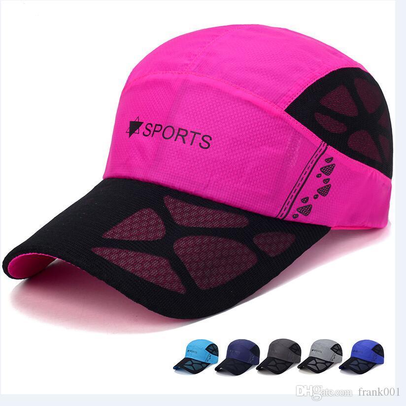 새로운 통기성 빠른 건조 메쉬 캡 고품질의 하이킹 야구 모자 폴리 에스테르 야외 Snapback Hat 조절 스포츠 아빠 모자