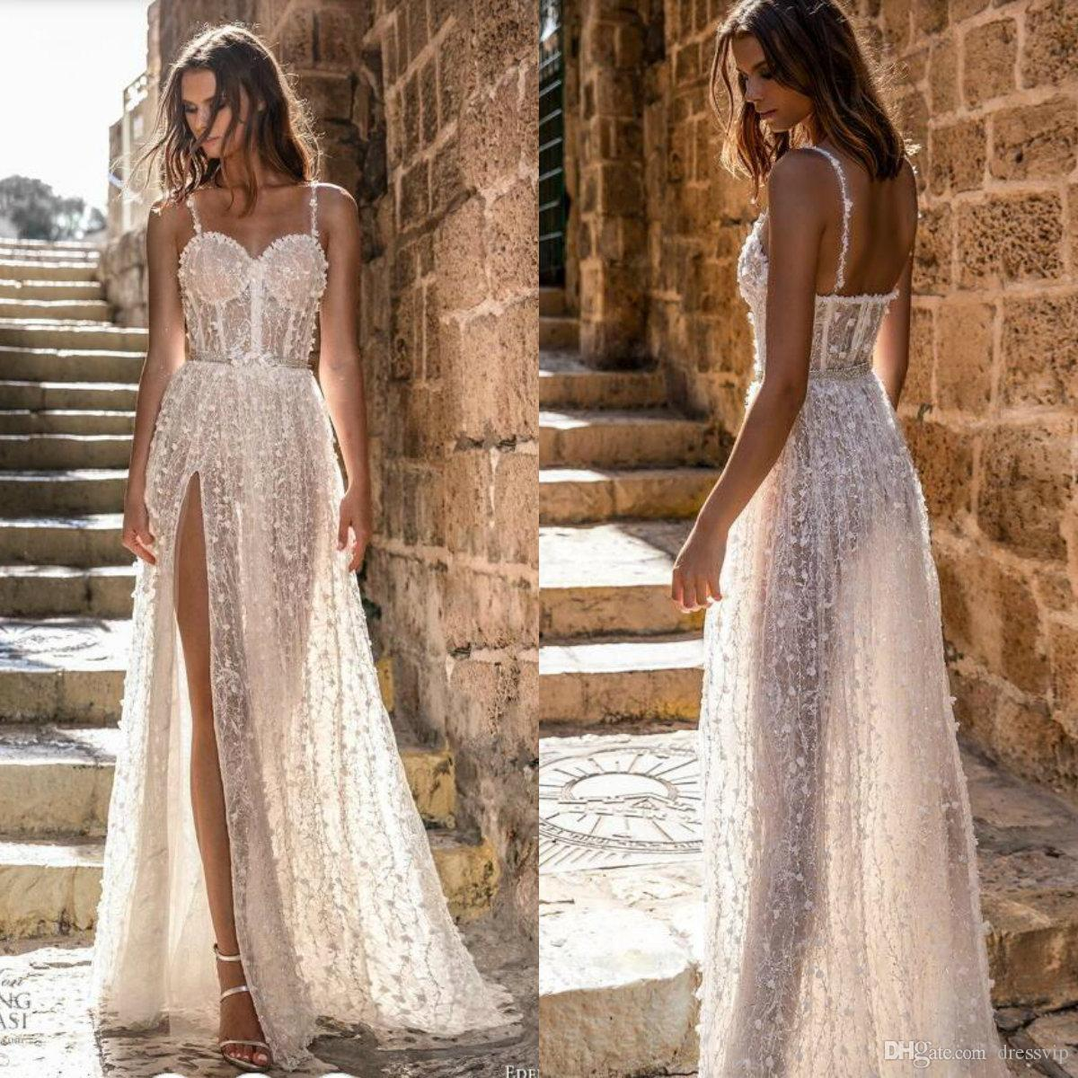 2019 A Line Beach Wedding Dress Lace 3D Floral Appliques Side Split Spaghetti Floor Length Country Wedding Dress Illusion Bridal Gowns