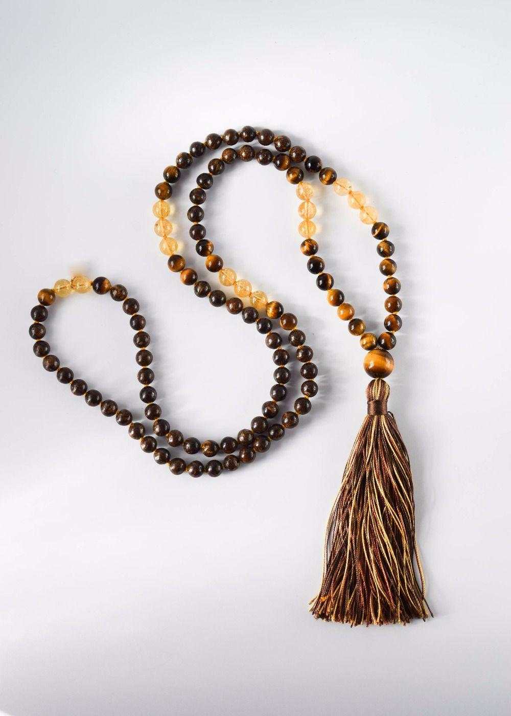 108 Mala Contas Colar de Quartzo Amarelo Natural Pedra de Olho de Tigre Colar Colares Dos Homens Oração Yoga Colares de Meditação