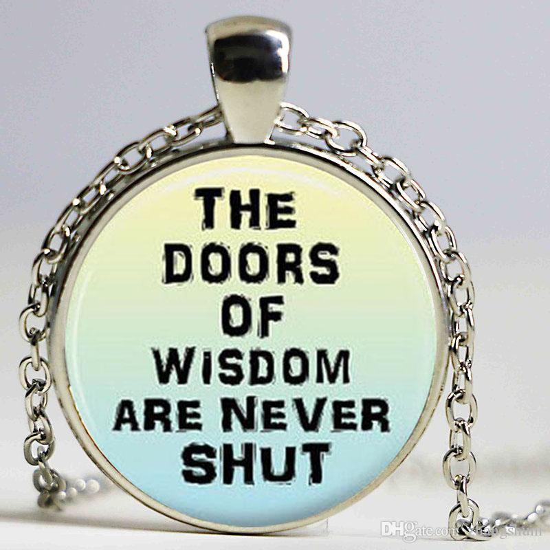 Citações de Benjamin Franklin sábio Colar Portas da sabedoria Colar Ben Franklin citar as palavras sábias do vidro da vida Pendant Jewelry