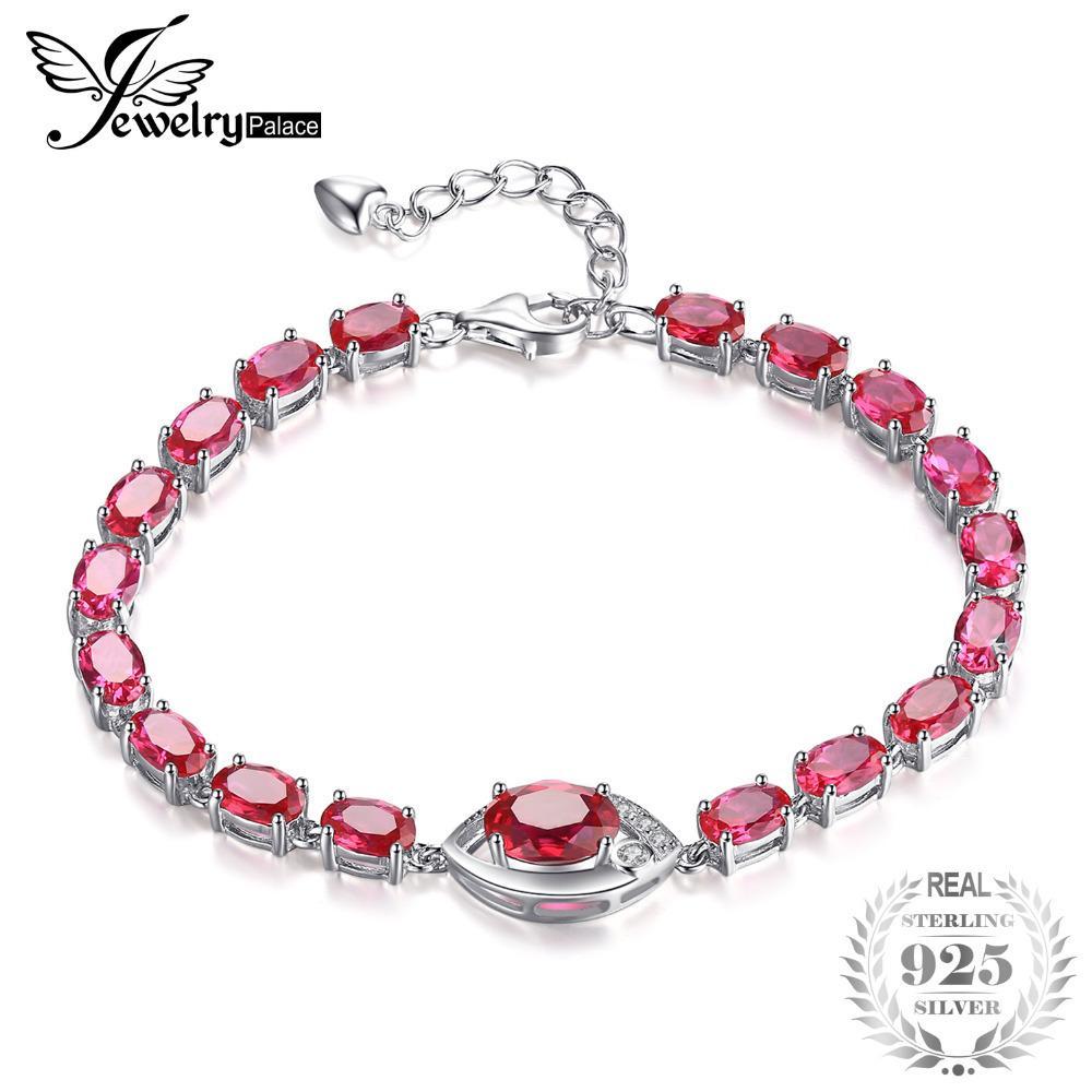 JewelryPalace глаз 10,8 карат создан красный рубин ссылка браслет 925 стерлингового серебра классики свадебный комплект модные аксессуары Шарм подарок S18101507