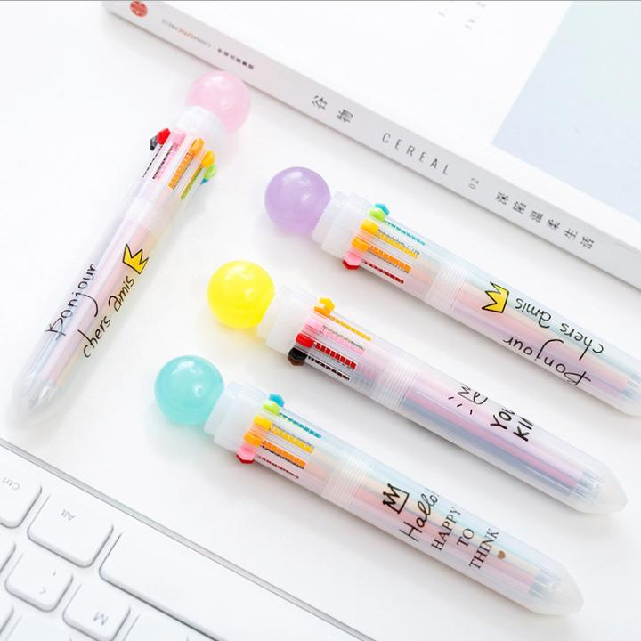 Multicolor macarons candy color ball player account small fresh and lovely creative Korea press ten color ball pen