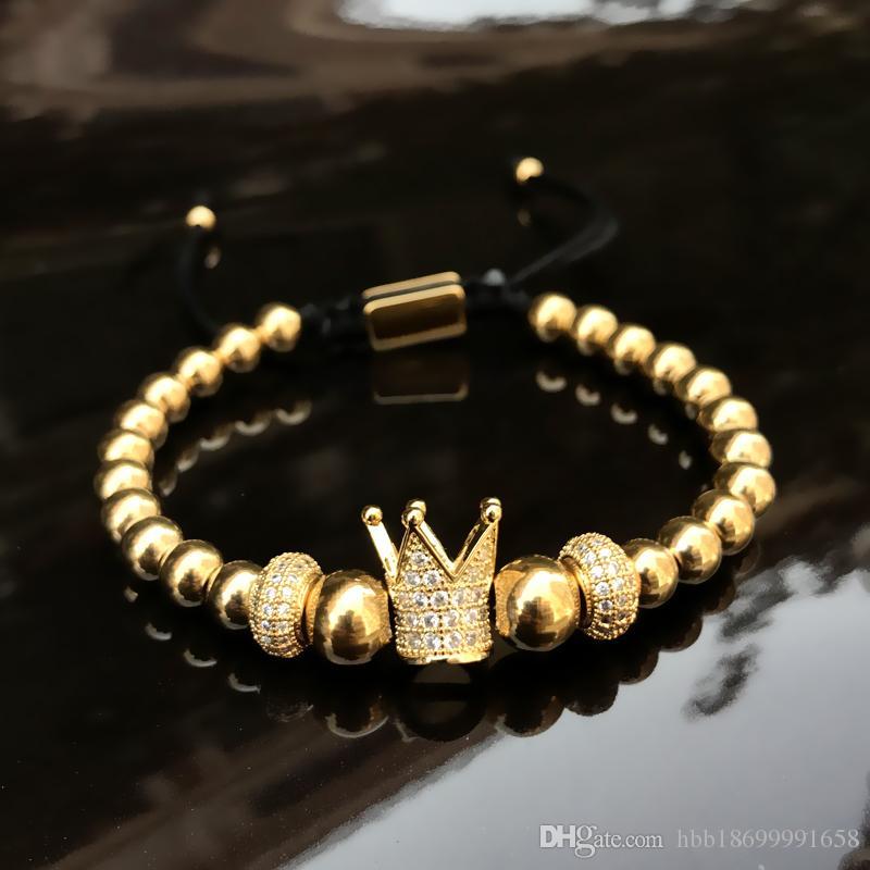Charm bracelets 6mm golden metal titanium steel beads bracelet bangles Crown Woven Bracelet Stainless steel jewelry 2018