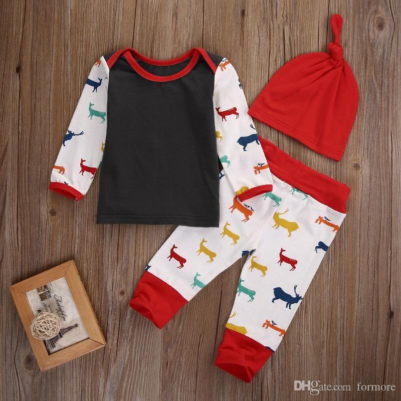 Toddler Outfit Baby Boys Girl Clothes Kid Boutique Clothing Set Babies Christmas Pajamas 3PCS Reindeer Boys Suit Hot Sale Casual Infant Set