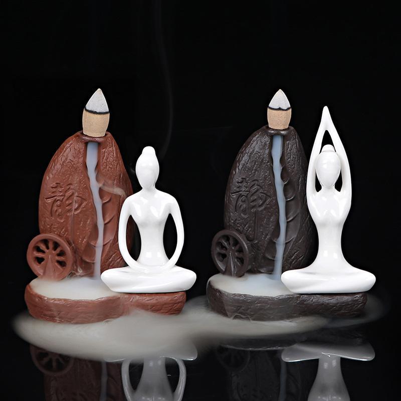 1Pc Burner+50Pc Cones Ceramic Yoga Girl Censer Backflow Incense Cones Burner Towel Incense Stick Holder Use in Office Teahouse
