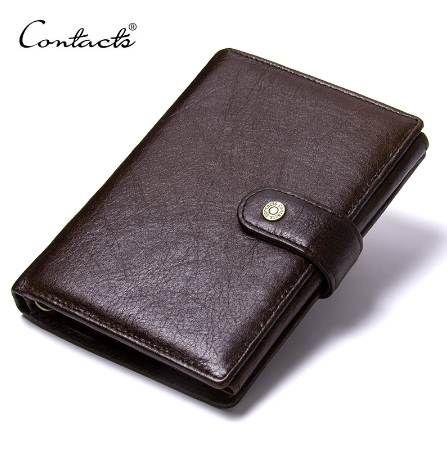 CONTACT'S Porte-monnaie en cuir Homme en cuir véritable Portefeuilles Hommes Moraillon Porte-monnaie avec Passcard Pocket et titulaire de la carte de haute qualité