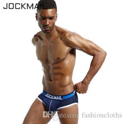 JOCKMAIL Brand Men Underwear Briefs Slip Sexy Hollow Mesh Shorts Cueca Gay Sleepwear Male panties Sexy! Breathable Crotch Cotton