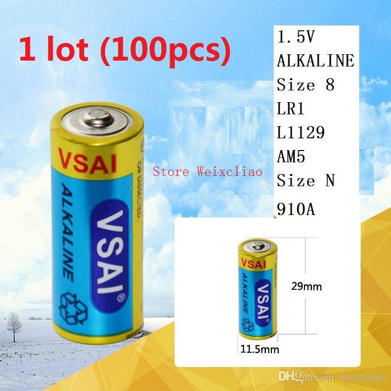 100pcs 1 lot 크기 8 LR1 L1129 AM5 크기 N 910A 1.5V 알칼리 전지 무료 배송