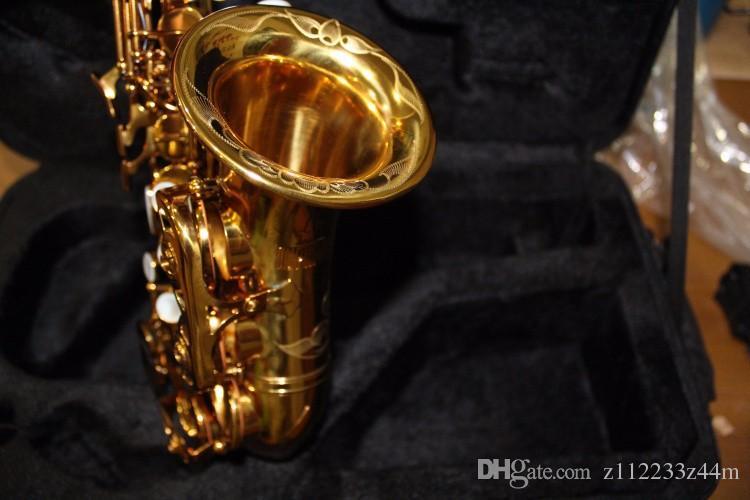 Haute Qualité Laiton Exquis Sculpté À La Main Plaqué Or Soprano B (B) Saxophone B Plat Sax Avec Cas, Embouchure Livraison Gratuite