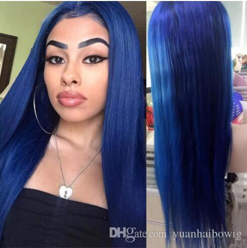 Blue Full Lace Wigs White Blonde Color #60 Silky Straight Brazilian Virgin Remy Human Hair Blonde Lace Front Wig Bleach Knots Free Shipping