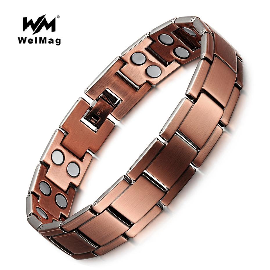 WelMag Vintage Copper Magnetic Bracelet for Men / Women 2 Row Magnet Bio Energy Healing Bangles Fashion Jewelry Male Wristband Y1891709