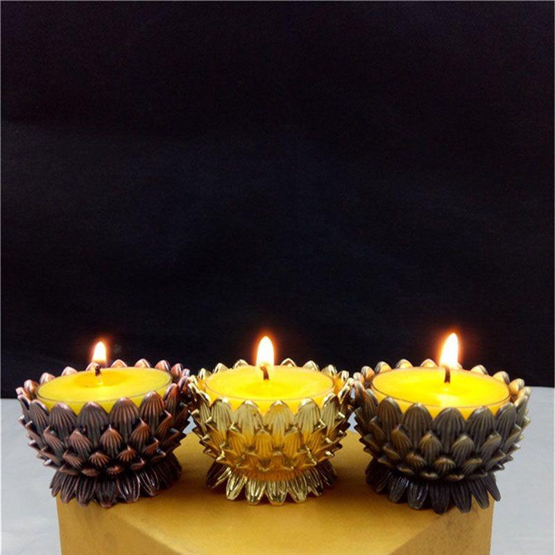 Lotus Flower Metall Kerzenhalter Feng Shui Wohnkultur Kleine Teelicht Kerzenständer Halter Buddhismus Leuchter ZA6885