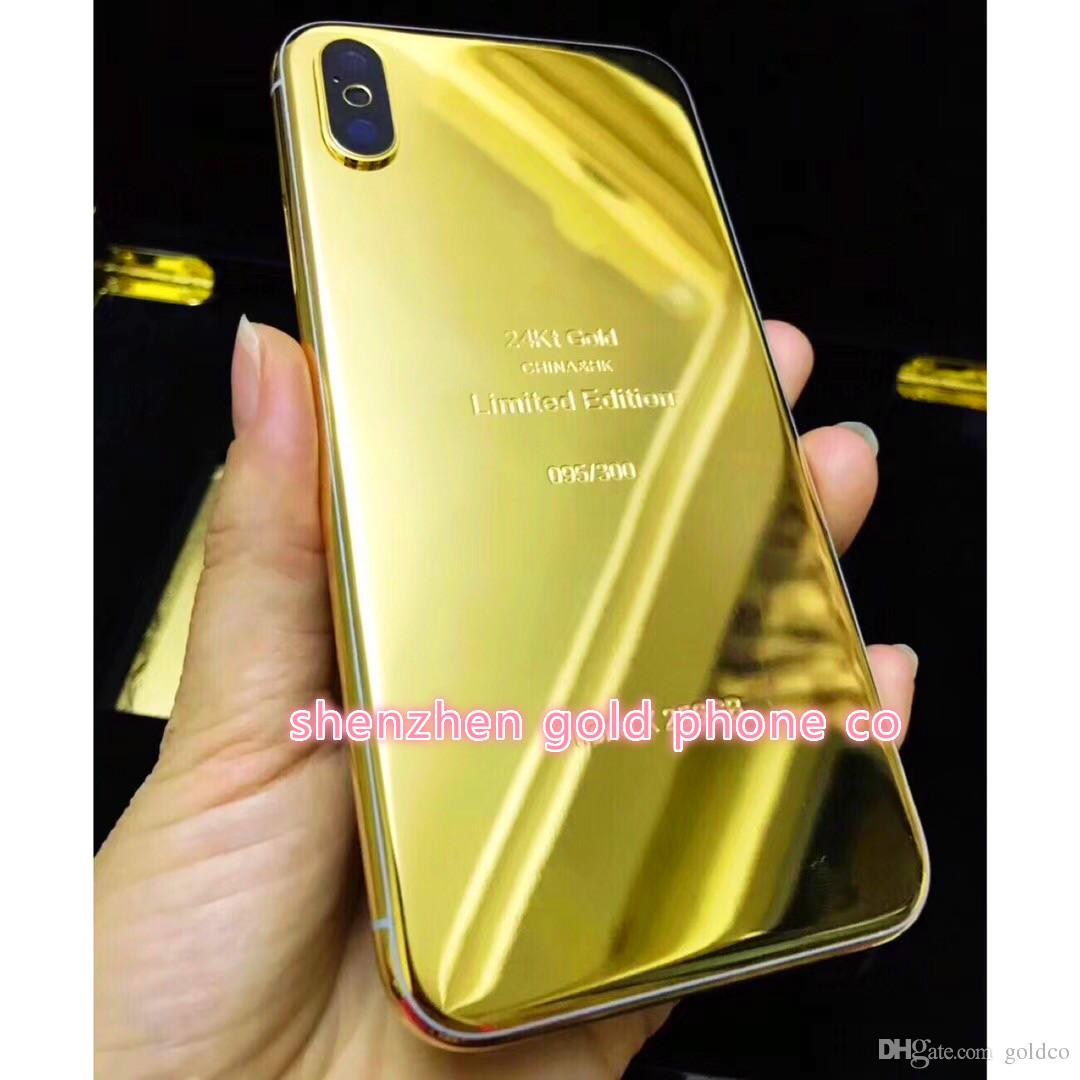 2018 hot ! newest luxury phone ! 24ct 24k gold real gold Full Housing Battery Door for iPhone X style Housing Battery Back Cover Replace