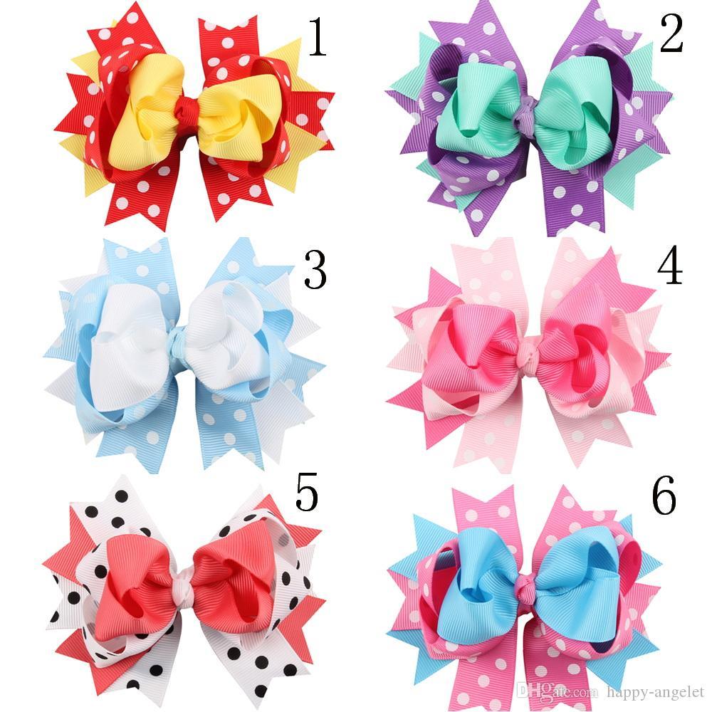 Dot Bow Şerit Prenses Saç Aksesuarları Firkete Güzel Kız Saç Klip Diy Moda Avrupa Bow Kız Şapkalar HC013