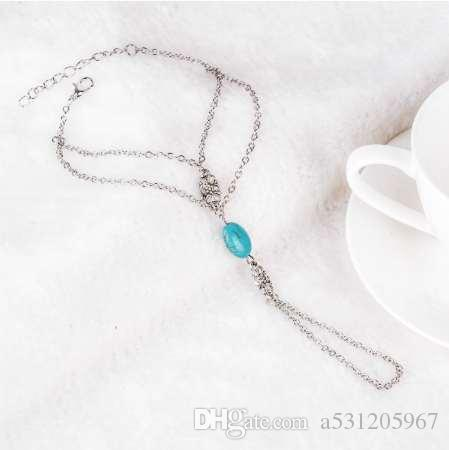 Unique Trending Silver Plated Slave Chain Bracelet And Ring With Turquoise Bead