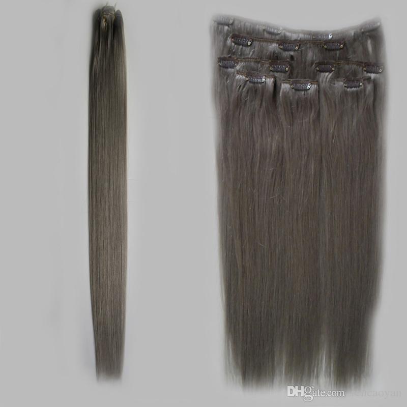 Clipe Na Extensão Do Cabelo Humano 8 Pçs / set cinza extensões de cabelo loiro 100g / Set cinza clipe em extensões do cabelo