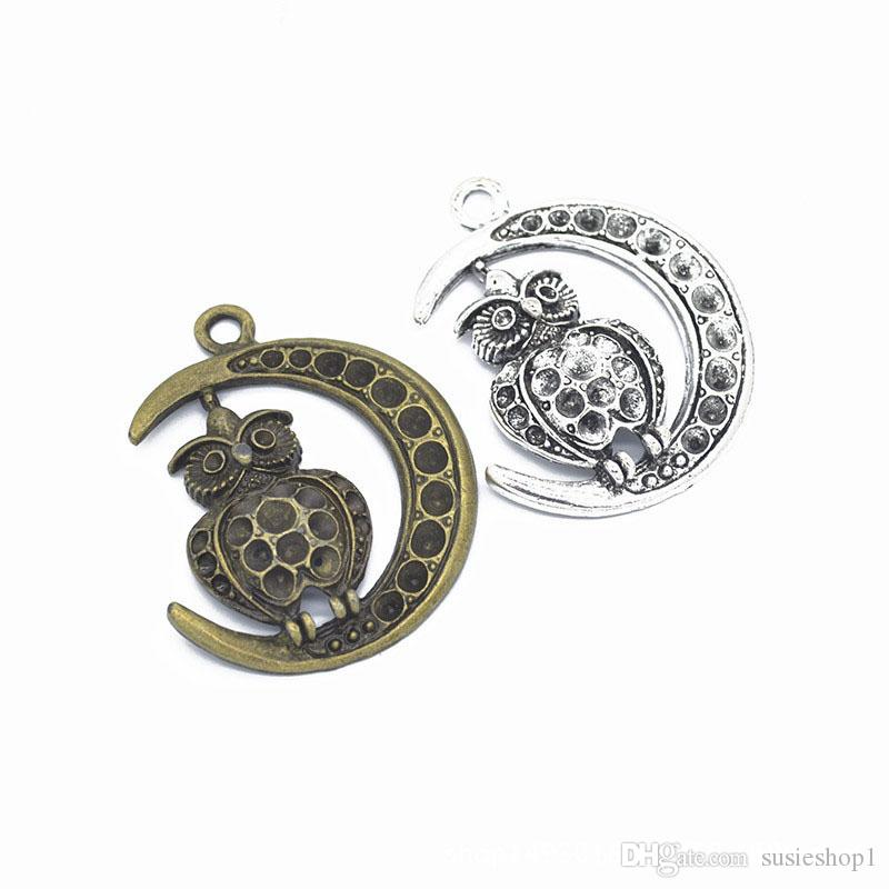 50 PCS/lot 49*38mm Large Owl Sitting on Moon Charms Pendant antique silver & bronze for option