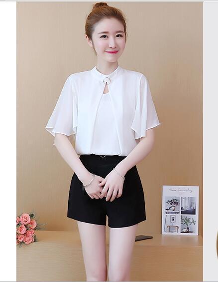 Nieve - girar la camisa blusa corta de verano 2019 nuevo estilo estilo coreano sombra floja de la manga de las mujeres súper pequeña camisa