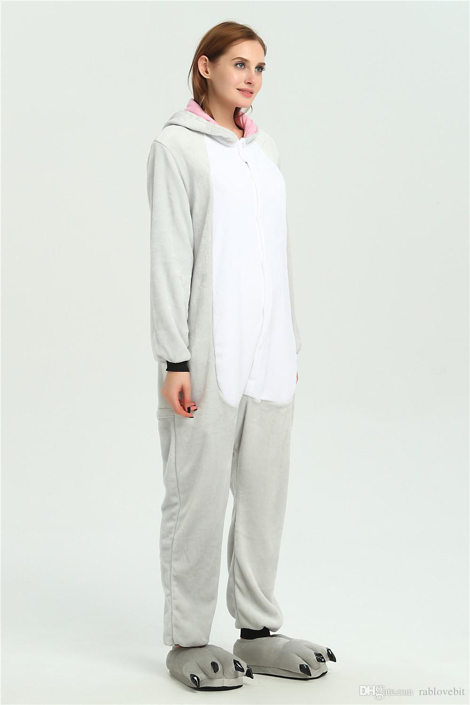 Caliente Lindo Interesante Gris Koala Unisex Pijamas para adultos Anime Cosplay Animal Onesie ropa de dormir