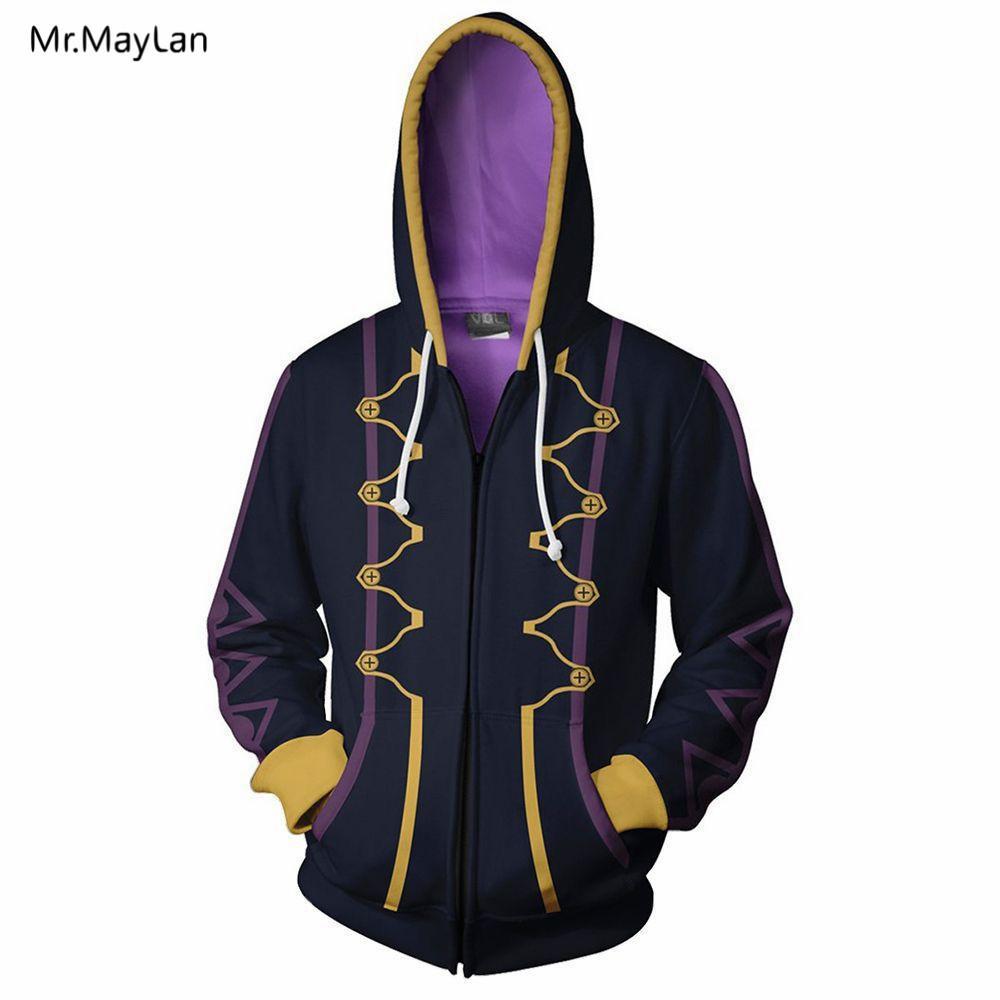 Japon Jeu Fire Emblem Robin 3D Imprimer Zipper Hoodies Hommes / Femmes Cool Cospaly Hiphop Survêtements Garçons Chapeaux Vestes Manteau Outwear 5XL