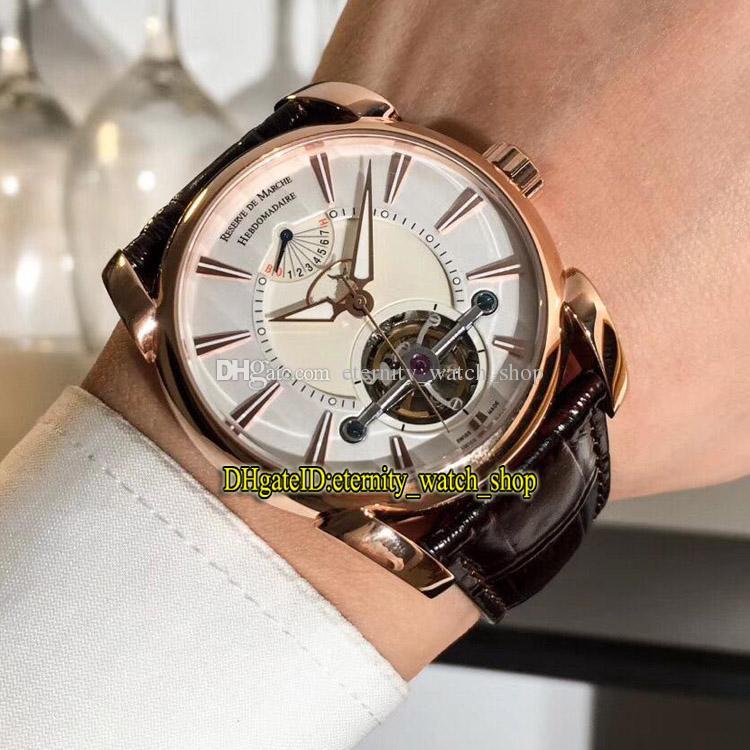 Di alta qualità di lusso Nuova Tonda 42 Yourbillon PF600695.01 quadrante bianco Tourbillon Automatic Mens orologio con cinturino in cuoio in pelle rosa