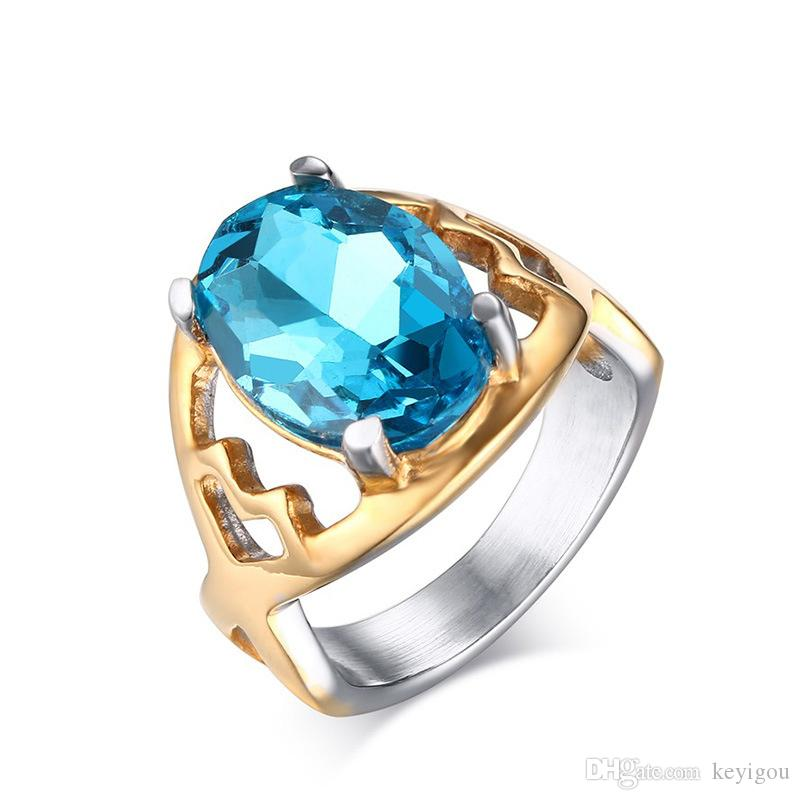 fashion Sky Blue Stone Ring for Women Gold Color Stainless Steel Wedding Ring Shiny Rhinestone Ring