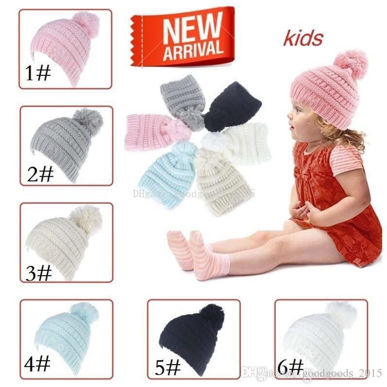 Kids Beanie Knitted Pom Pom Hats Children Hats Baby Boy Girls Winter Cap Toddler Warm Skullies Beanies M063