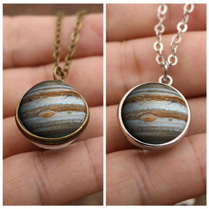 Júpiter vidro cúpula pingente colar planeta jóias galáxia universo colares para homens mulheres cair compras ylq1086