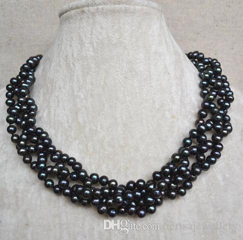 Neue Ankömmling-Hochzeits-Perlen-Halskette, schwarze Farbe 18inches 4rows 6-6.5mm echte Frischwasserperlen-Halskette, handgemachter Perlen-Schmuck