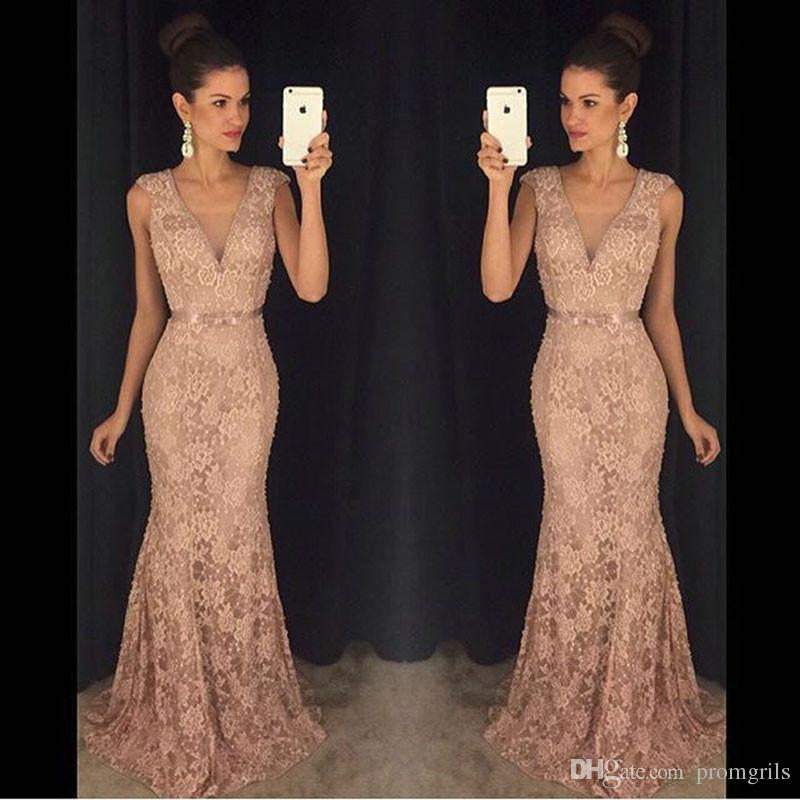 Compre Vestido De Noche 2018 Vestidos De Fiesta De Encaje Largos Elegantes Sexy Con Escote En V Vestidos De Fiesta De Noche Formales Personalizados
